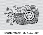 retro photo camera with cute... | Shutterstock .eps vector #375662209