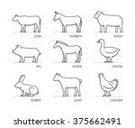 linear set of farm animals.... | Shutterstock . vector #375662491