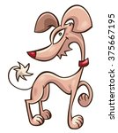 pink cartoon doggy drawn in... | Shutterstock .eps vector #375667195