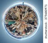 circle view manhattan pizza... | Shutterstock . vector #375680971
