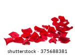 Stock photo red roses petals isolated on a white background 375688381