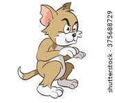 brown cat standing mad and up... | Shutterstock .eps vector #375688729