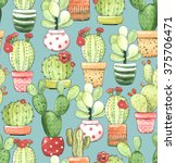Seamless Pattern Of Cacti In...