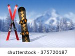 skis and snowboard stuck in... | Shutterstock . vector #375720187