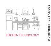 illustration of modern kitchen... | Shutterstock .eps vector #375737011