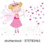 cute fairy blows soap bubbles.... | Shutterstock .eps vector #375782461