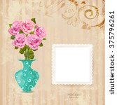 vintage greeting card with vase ... | Shutterstock .eps vector #375796261