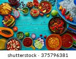 mexican food mix copyspace... | Shutterstock . vector #375796381