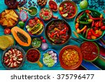 mexican food mix colorful... | Shutterstock . vector #375796477