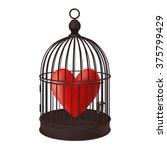 heart in retro bird cage  | Shutterstock .eps vector #375799429