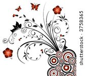abstract floral chaos with... | Shutterstock .eps vector #3758365