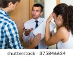 debt collector and sad young... | Shutterstock . vector #375846634