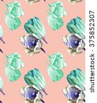 2 tulips pattern watercolor 3 | Shutterstock . vector #375852307