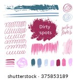 lipstick smudge, dirty spots. Vector illustration, the collection of smudges, smear, blots, spray, brush, line, flourish, blot, Doodle. Set of  elements drawn ink paint, hand drawing. Circular spots.