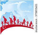 immigration people on turkey... | Shutterstock .eps vector #375855601