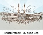 mecca background drawing hand... | Shutterstock .eps vector #375855625