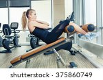 beautiful woman doing press... | Shutterstock . vector #375860749