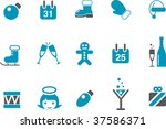 Vector icons pack - Blue Series, xmas holidays collection - stock vector