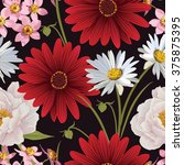 floral seamless patterns with... | Shutterstock .eps vector #375875395
