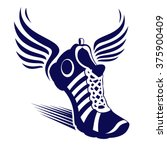 Sport Shoe With Wings   Vector...