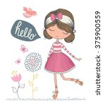 cute girl vector design.t shirt ... | Shutterstock .eps vector #375900559