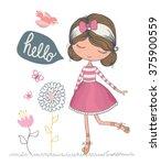 Stock vector cute girl vector t shirt print book illustrations for children romantic hand drawing poster cartoon 375900559