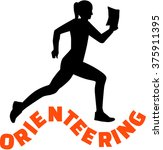 orienteering woman with word | Shutterstock .eps vector #375911395