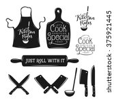 kitchen related typography set. ... | Shutterstock .eps vector #375921445