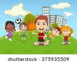 children playing basketball ... | Shutterstock . vector #375935509