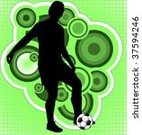 soccer player on the abstract... | Shutterstock .eps vector #37594246