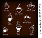 set of coffee kind menu...   Shutterstock .eps vector #375961897