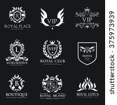 luxury crest logo collection... | Shutterstock .eps vector #375973939