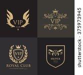 luxury gold crest logo... | Shutterstock .eps vector #375973945