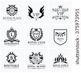 luxury crest logo collection... | Shutterstock .eps vector #375973951