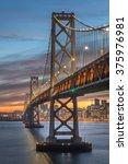 beautiful momoent of bay bridge ... | Shutterstock . vector #375976981