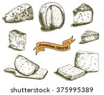 natural cheese sketches | Shutterstock .eps vector #375995389