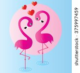 two pink flamingos in love | Shutterstock .eps vector #375997459