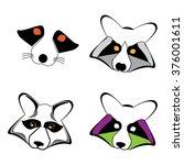 raccoon logo. vector... | Shutterstock .eps vector #376001611