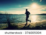 silhouette of tall sport active ... | Shutterstock . vector #376005304