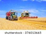 grain harvesting combine | Shutterstock . vector #376013665