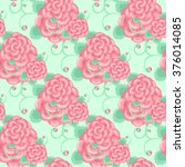 pale pink roses pattern on an... | Shutterstock .eps vector #376014085