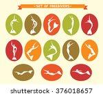 freediving collection. vector... | Shutterstock .eps vector #376018657
