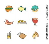 foods flat icon set | Shutterstock .eps vector #376019359