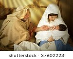 Small photo of Living christmas nativity scene reenacted with a real 18 days old baby