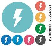 flat flash icon set on round...