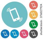 flat ringing phone icon set on...