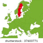 location of sweden on the... | Shutterstock .eps vector #37603771