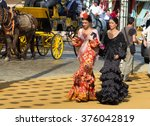 seville  spain   apr  25  women ... | Shutterstock . vector #376042819