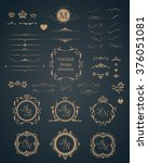 vintage set of decorative... | Shutterstock .eps vector #376051081
