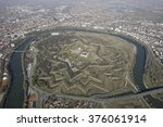 Small photo of Aerial view from a helicopter, of an vauban style old fortress in Arad, Transylvania, Romania